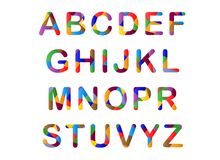 Cute candy-colored alphabet Stock Photos