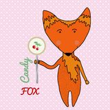 Cute candy little Fox. Kids birthday card design. Vector illustration Royalty Free Stock Images