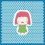 Cute Candy Pink Hair Cartoon Cry Baby Girl Royalty Free Stock Photography