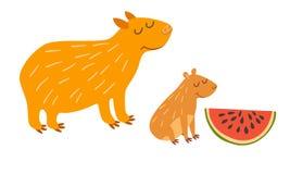 Cute capybara family. Vector illustration Stock Photos