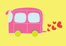 Cute car. Illustration of cute pink car over yellow background, cartoon Royalty Free Stock Photos