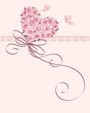 Cute card. With heart of roses Stock Image