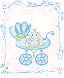 Cute card for baby boy. Card is my creative drawing and you can use it for your design, made in , Adobe Illustrator 8 EPS file Royalty Free Stock Images