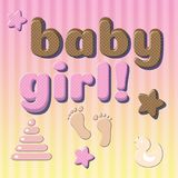 Cute card baby newborn in pink, chocolate colors. 3D vintage font effect with text Baby girl. Cute card baby newborn in pink, chocolate colors 3D vintage font Stock Photo