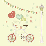 Cute card with balloons and bicyclefor valentines Royalty Free Stock Photo