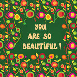 Cute card with beautiful words and floral pattern royalty free illustration