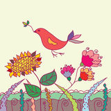 Cute card with bird and flowers Royalty Free Stock Image