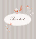 Cute card with birds and flowers Royalty Free Stock Photos