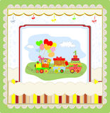 Cute card on birthday with colorful train Royalty Free Stock Photo