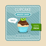 Cute card brown cupcake with kiwi Royalty Free Stock Images