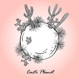 Cute card with cacti planet. Saguaro, prickly pear, and blue agave on small planet. Vector illustration Royalty Free Stock Photo