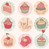 Cute Card with Cakes and Desserts. For your design and scrapbook in Stock Photography