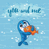 Cute card with cartoon baby Seal who hugs a fish. Stock Photography