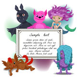 Cute card with cartoon monster Stock Photo