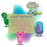 Cute card with cartoon monster Stock Image