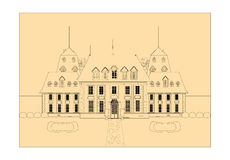 Cute card. Castle. sketch  Royalty Free Stock Photos