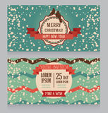 Cute card for christmas with birds and chevron texture Royalty Free Stock Photography