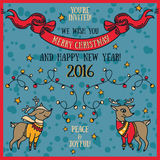 Cute card for christmas and new year party, cartoon deer and christmas lights Stock Images