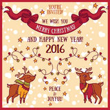 Cute card for christmas and new year party, cartoon deer and christmas lights Royalty Free Stock Photo