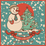 Cute card for christmas with smiling snowman Stock Photos