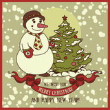Cute card for christmas with smiling snowman Royalty Free Stock Photo