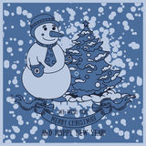 Cute card for christmas with smiling snowman Stock Photography