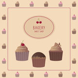 Cute card with cupcakes. Template design Stock Photo