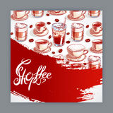 Cute card with cups of coffee Stock Photography