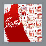 Cute card with cups of coffee - 2 Stock Image