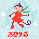 Cute card with cute funny monkey character -. 2016 card with cute funny monkey character on floral background in soft colors. Vector illustration Royalty Free Stock Image