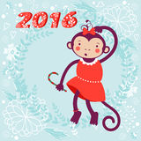 Cute card with cute funny monkey character -. 2016 card with cute funny monkey character on floral background in soft colors. Vector illustration Royalty Free Stock Photos