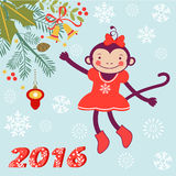 Cute card with cute funny monkey character -. 2016 card with cute funny monkey character on floral background in soft colors. Vector illustration Stock Photography