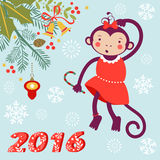 Cute card with cute funny monkey character - Stock Photography