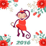 Cute card with cute funny monkey character -. 2016 card with cute funny monkey character on floral background in soft colors. Vector illustration Royalty Free Stock Images