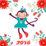 Cute card with cute funny monkey character -. 2016 card with cute funny monkey character on floral background . Vector illustration Royalty Free Stock Image
