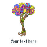 Cute card with doodle colorful tree Stock Photo