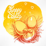 Cute card with Easter nest Stock Images