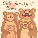 Cute card with a family of brown bears. Dad hugs mother and children. Royalty Free Stock Images