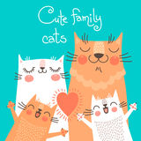 Cute card with family cats Stock Photo
