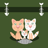 Cute card with family cats. Vector illustration. Royalty Free Stock Images
