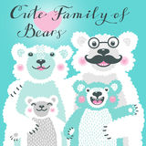 Cute card with a family of white bears. Dad hugs mother and children. Royalty Free Stock Image