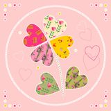 Cute card with flower as patch applique. Stock Images