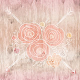 Cute card with flower bouquet on wood background Royalty Free Stock Images