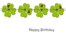 Cute card with four-leaf clover Royalty Free Stock Photography