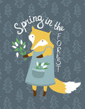 Cute  card with fox and flowers. Bright illustration can be used as invitation or birthday card. Beautiful floral background Stock Photography