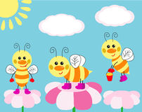 Cute card with fun bees stock illustration