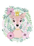 Cute card with hand drawn animal deer princess. For printing, print, poster, billboard, postcard and more. Designed for a children`s room Stock Photos