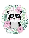 Cute card with hand drawn animal panda. For printing, print, poster, billboard, postcard and more. Designed for a children`s room Royalty Free Stock Photos