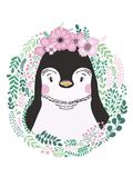 Cute card with hand drawn animal penguin. For printing, print, poster, billboard, postcard and more. vector illustration