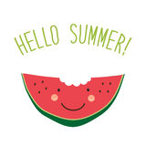 Cute card Hello summer as funny hand drawn cartoon character of watermelon Royalty Free Stock Images